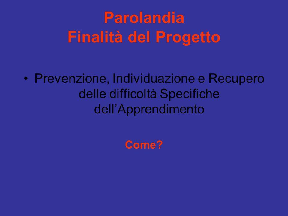 Parolandia Finalità del Progetto Prevenzione, Individuazione e Recupero delle difficoltà Specifiche dellApprendimento Come?