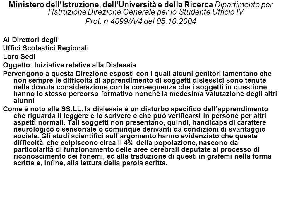Ministero dellIstruzione, dellUniversità e della Ricerca Dipartimento per lIstruzione Direzione Generale per lo Studente Ufficio IV Prot.