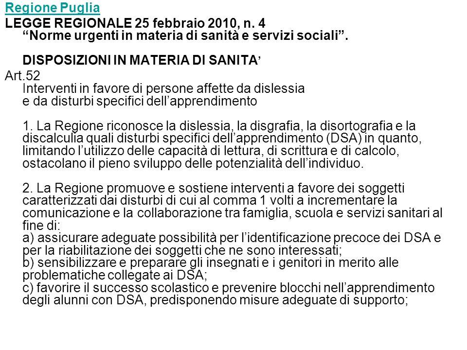 Regione Puglia LEGGE REGIONALE 25 febbraio 2010, n.