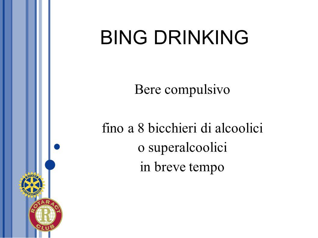 BING DRINKING Bere compulsivo fino a 8 bicchieri di alcoolici o superalcoolici in breve tempo