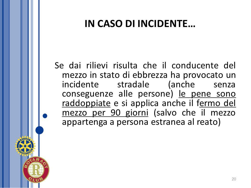 20 IN CASO DI INCIDENTE… Se dai rilievi risulta che il conducente del mezzo in stato di ebbrezza ha provocato un incidente stradale (anche senza conse