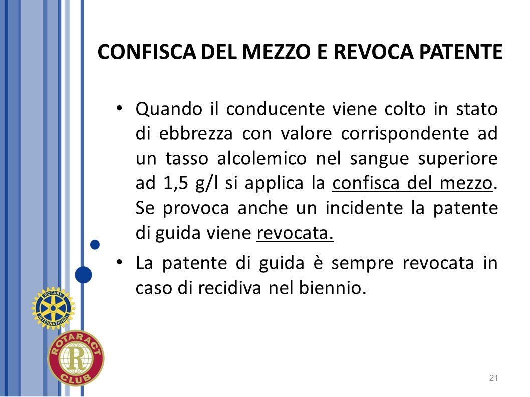 21 CONFISCA DEL MEZZO E REVOCA PATENTE Quando il conducente viene colto in stato di ebbrezza con valore corrispondente ad un tasso alcolemico nel sang