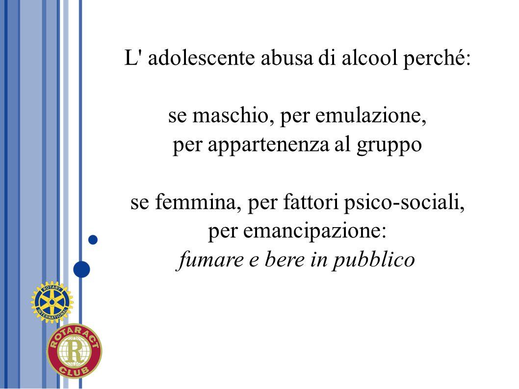 L' adolescente abusa di alcool perché: se maschio, per emulazione, per appartenenza al gruppo se femmina, per fattori psico-sociali, per emancipazione