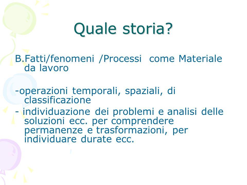 Quale storia? B.Fatti/fenomeni /Processi come Materiale da lavoro -operazioni temporali, spaziali, di classificazione - individuazione dei problemi e