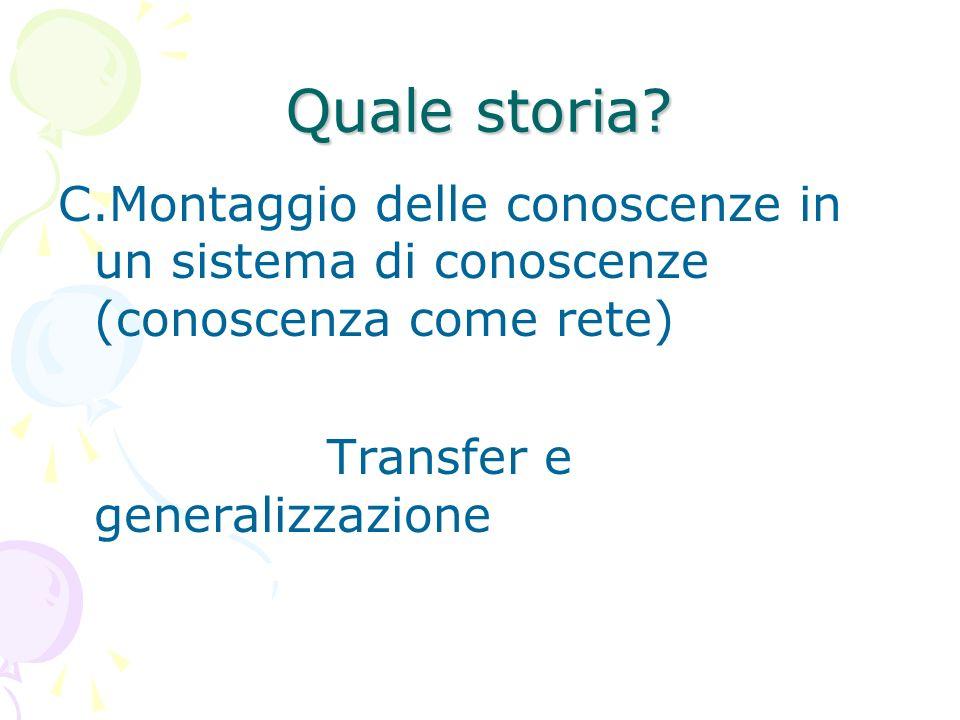 Quale storia? C.Montaggio delle conoscenze in un sistema di conoscenze (conoscenza come rete) Transfer e generalizzazione