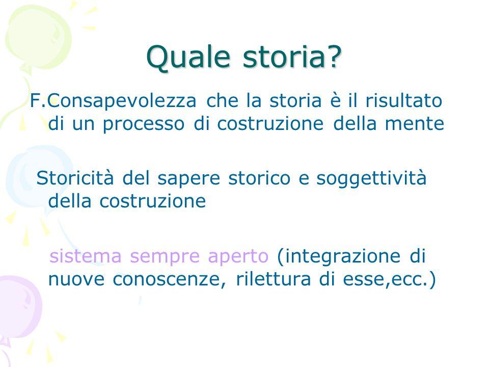 Quale storia? F.Consapevolezza che la storia è il risultato di un processo di costruzione della mente Storicità del sapere storico e soggettività dell
