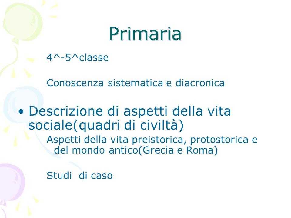 Primaria 4^-5^classe Conoscenza sistematica e diacronica Descrizione di aspetti della vita sociale(quadri di civiltà) Aspetti della vita preistorica,