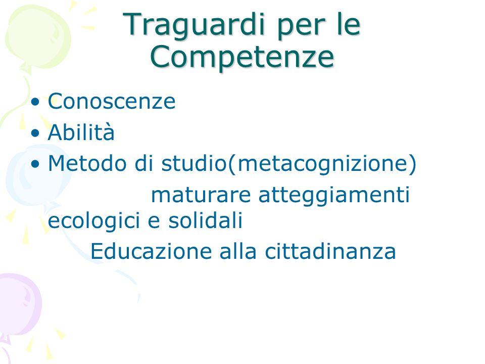 Traguardi per le Competenze Conoscenze Abilità Metodo di studio(metacognizione) maturare atteggiamenti ecologici e solidali Educazione alla cittadinan