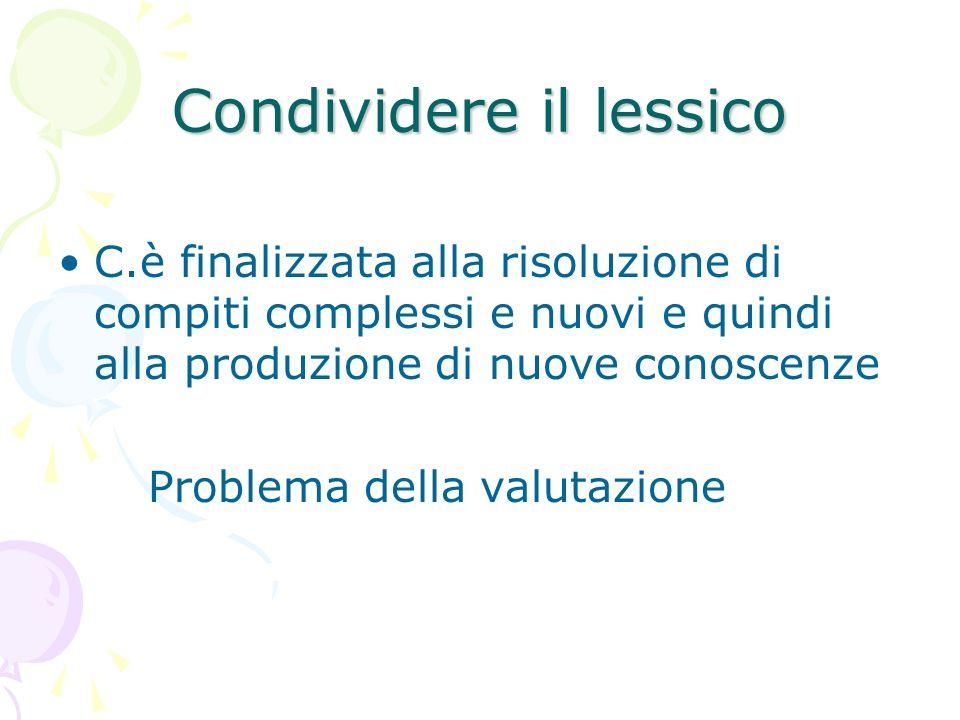 Condividere il lessico C.è finalizzata alla risoluzione di compiti complessi e nuovi e quindi alla produzione di nuove conoscenze Problema della valut