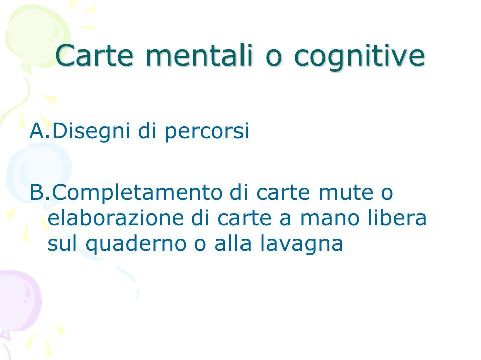 Carte mentali o cognitive A.Disegni di percorsi B.Completamento di carte mute o elaborazione di carte a mano libera sul quaderno o alla lavagna