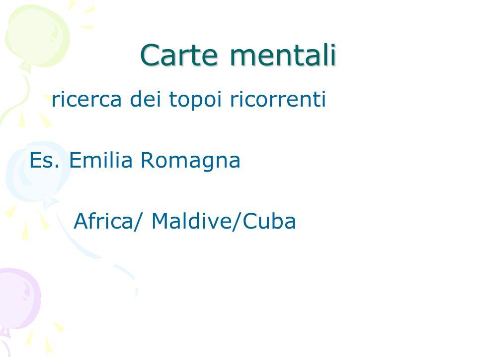 Carte mentali ricerca dei topoi ricorrenti Es. Emilia Romagna Africa/ Maldive/Cuba