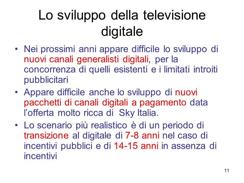 11 Lo sviluppo della televisione digitale Nei prossimi anni appare difficile lo sviluppo di nuovi canali generalisti digitali, per la concorrenza di q