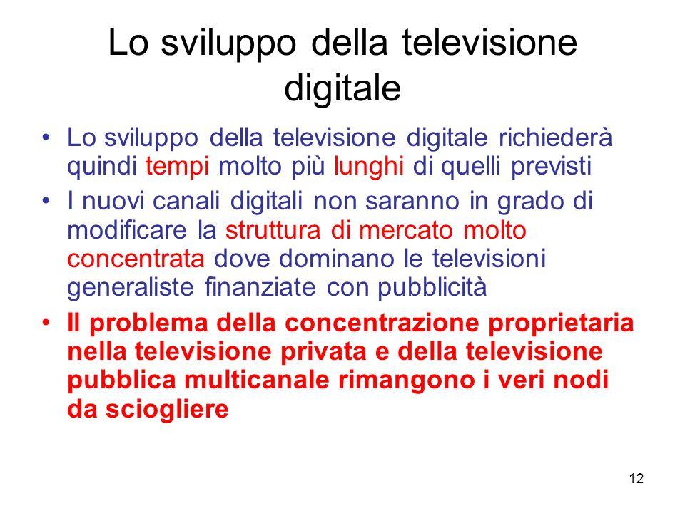 12 Lo sviluppo della televisione digitale Lo sviluppo della televisione digitale richiederà quindi tempi molto più lunghi di quelli previsti I nuovi c