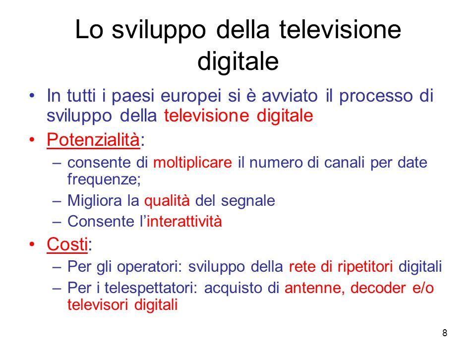 8 Lo sviluppo della televisione digitale In tutti i paesi europei si è avviato il processo di sviluppo della televisione digitale Potenzialità: –conse