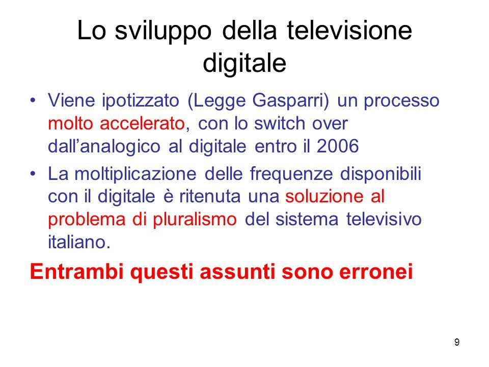 9 Lo sviluppo della televisione digitale Viene ipotizzato (Legge Gasparri) un processo molto accelerato, con lo switch over dallanalogico al digitale