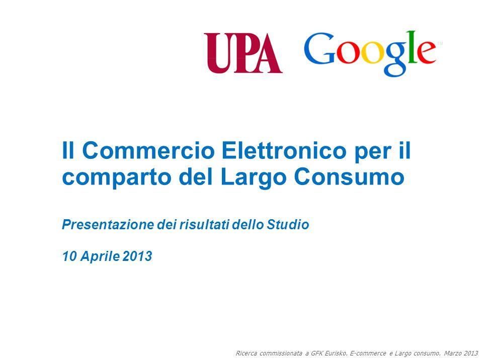 Google Confidential and Proprietary 0 Il Commercio Elettronico per il comparto del Largo Consumo 0 Presentazione dei risultati dello Studio 10 Aprile 2013 Ricerca commissionata a GFK Eurisko.
