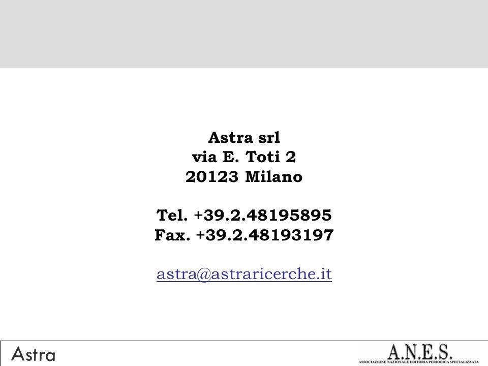 Astra srl via E. Toti 2 20123 Milano Tel. +39.2.48195895 Fax. +39.2.48193197 astra@astraricerche.it