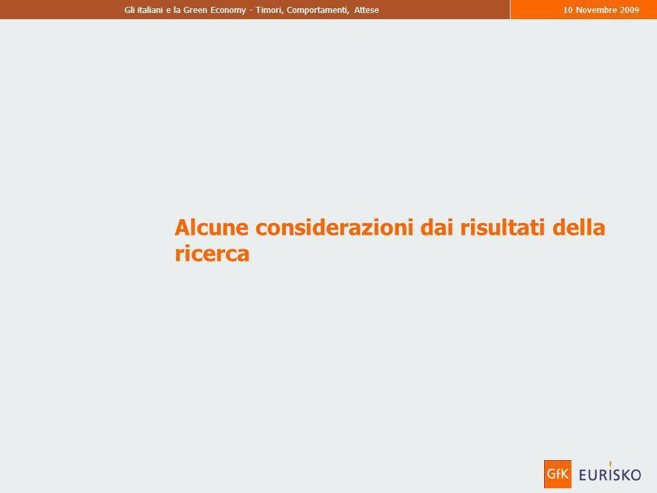 Gli italiani e la Green Economy - Timori, Comportamenti, Attese10 Novembre 2009 Alcune considerazioni dai risultati della ricerca