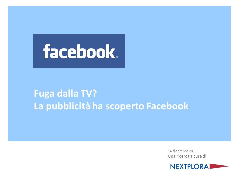 Fuga dalla TV? La pubblicità ha scoperto Facebook 14 dicembre 2011 Una ricerca a cura di