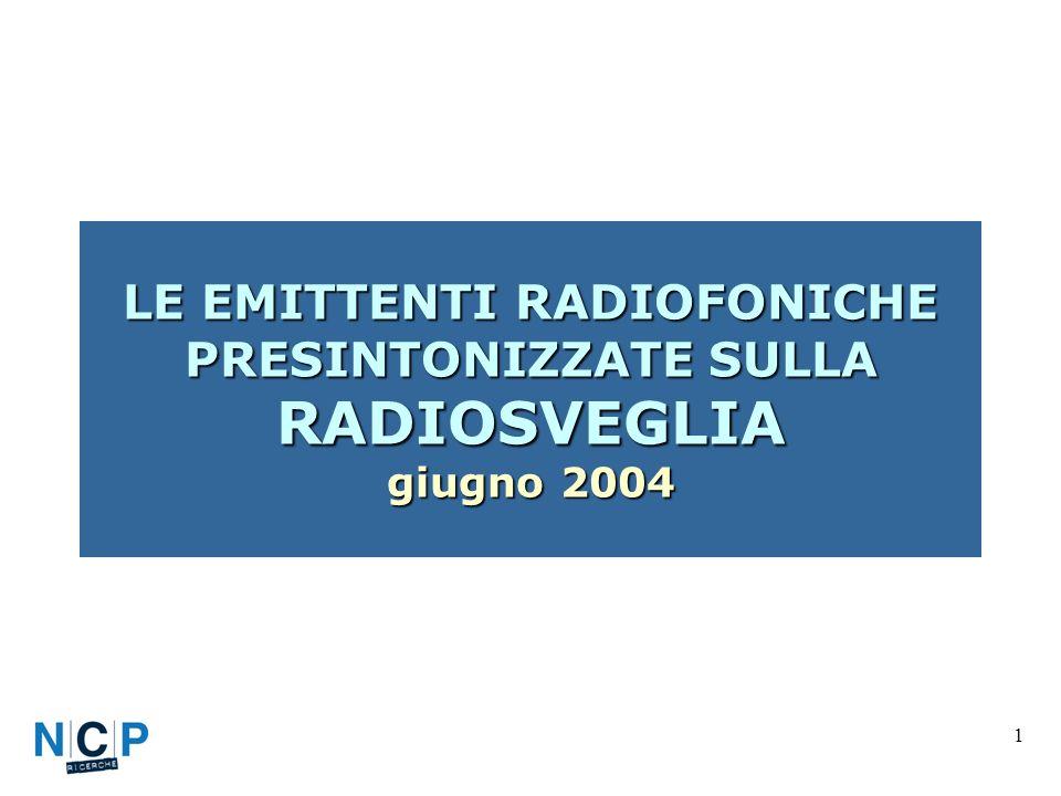 1 LE EMITTENTI RADIOFONICHE PRESINTONIZZATE SULLA RADIOSVEGLIA giugno 2004