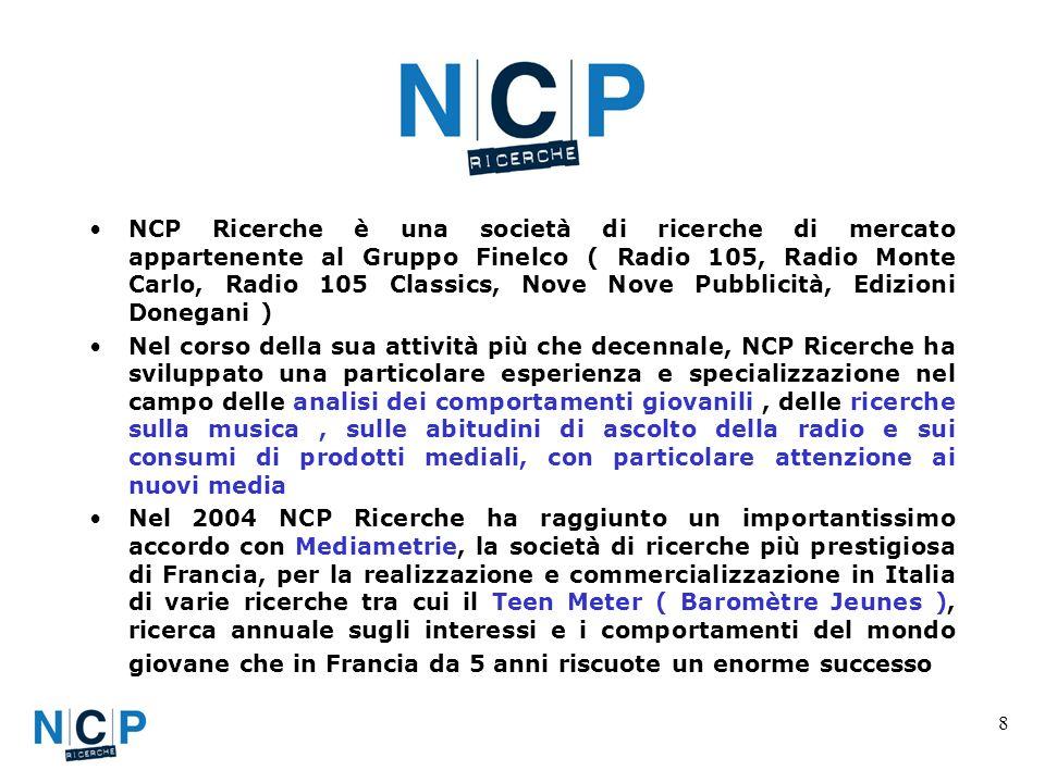 8 NCP Ricerche è una società di ricerche di mercato appartenente al Gruppo Finelco ( Radio 105, Radio Monte Carlo, Radio 105 Classics, Nove Nove Pubbl