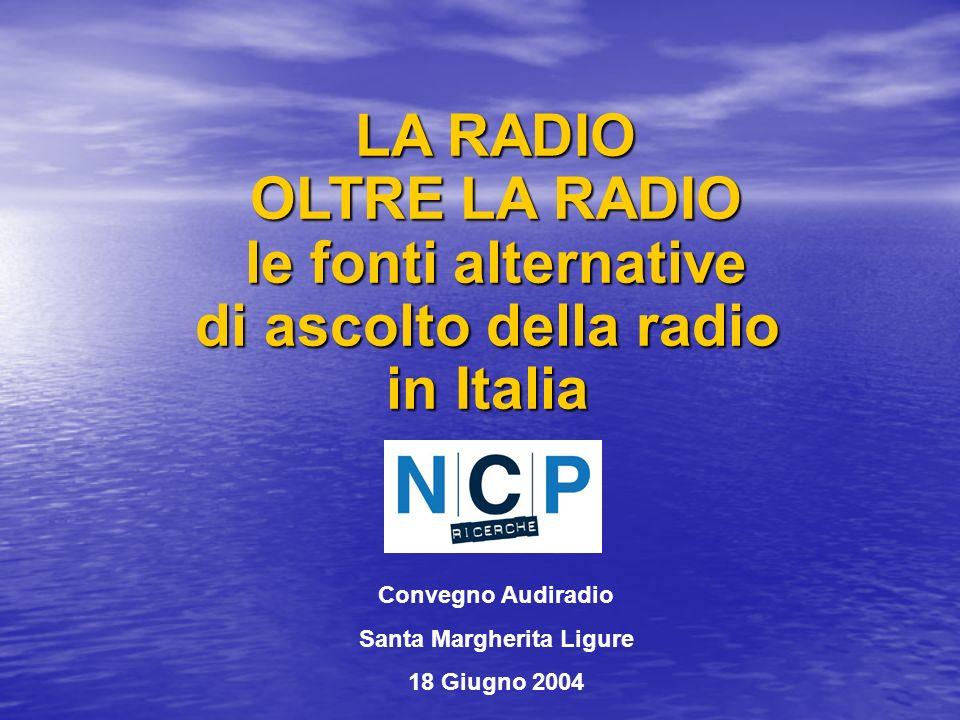 LA RADIO OLTRE LA RADIO le fonti alternative di ascolto della radio in Italia LA RADIO OLTRE LA RADIO le fonti alternative di ascolto della radio in Italia Convegno Audiradio Santa Margherita Ligure 18 Giugno 2004