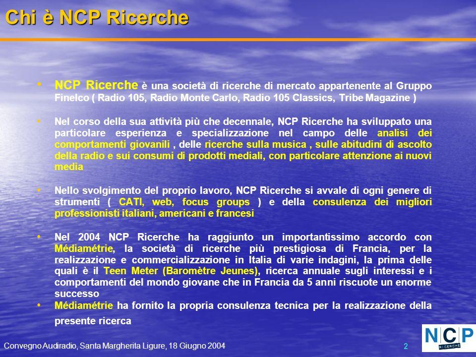 Convegno Audiradio, Santa Margherita Ligure, 18 Giugno 2004 2 NCP Ricerche è una società di ricerche di mercato appartenente al Gruppo Finelco ( Radio