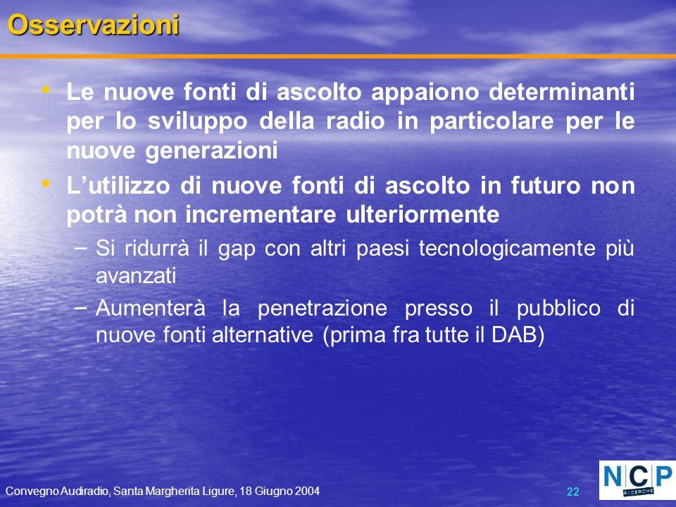 Convegno Audiradio, Santa Margherita Ligure, 18 Giugno 2004 22Osservazioni Le nuove fonti di ascolto appaiono determinanti per lo sviluppo della radio
