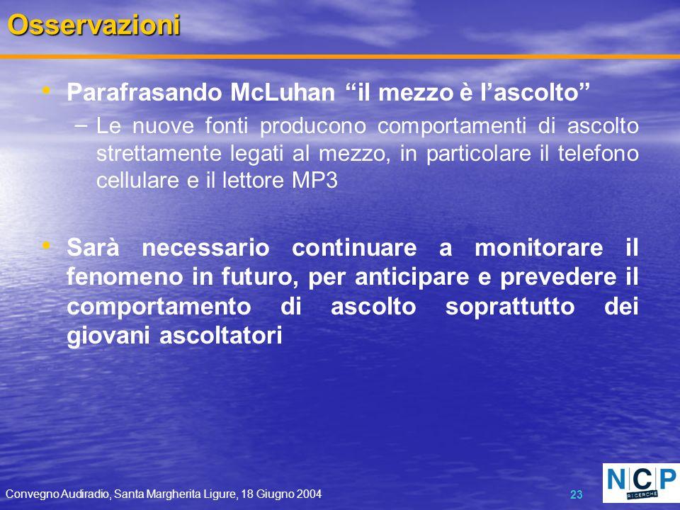 Convegno Audiradio, Santa Margherita Ligure, 18 Giugno 2004 23Osservazioni Parafrasando McLuhan il mezzo è lascolto – Le nuove fonti producono comport