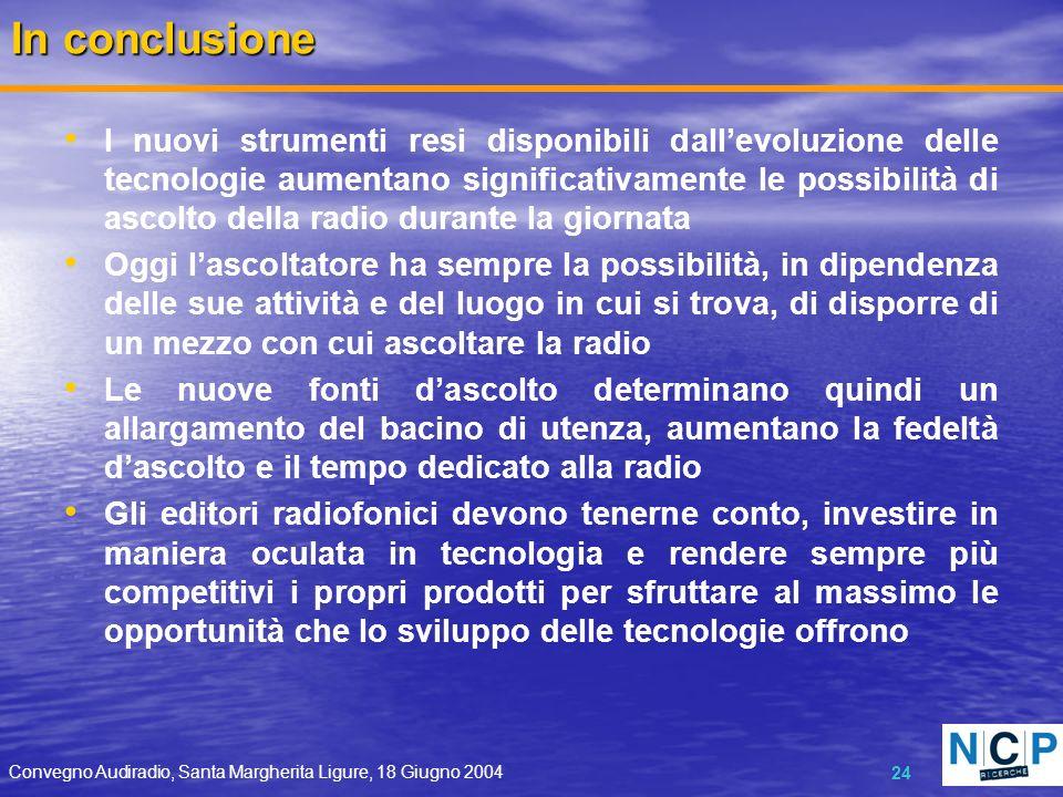 Convegno Audiradio, Santa Margherita Ligure, 18 Giugno 2004 24 In conclusione I nuovi strumenti resi disponibili dallevoluzione delle tecnologie aumen