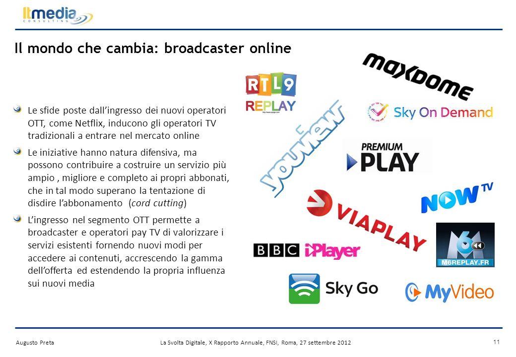 Augusto PretaLa Svolta Digitale, X Rapporto Annuale, FNSI, Roma, 27 settembre 2012 Internet e TV: rivoluzione o evoluzione.