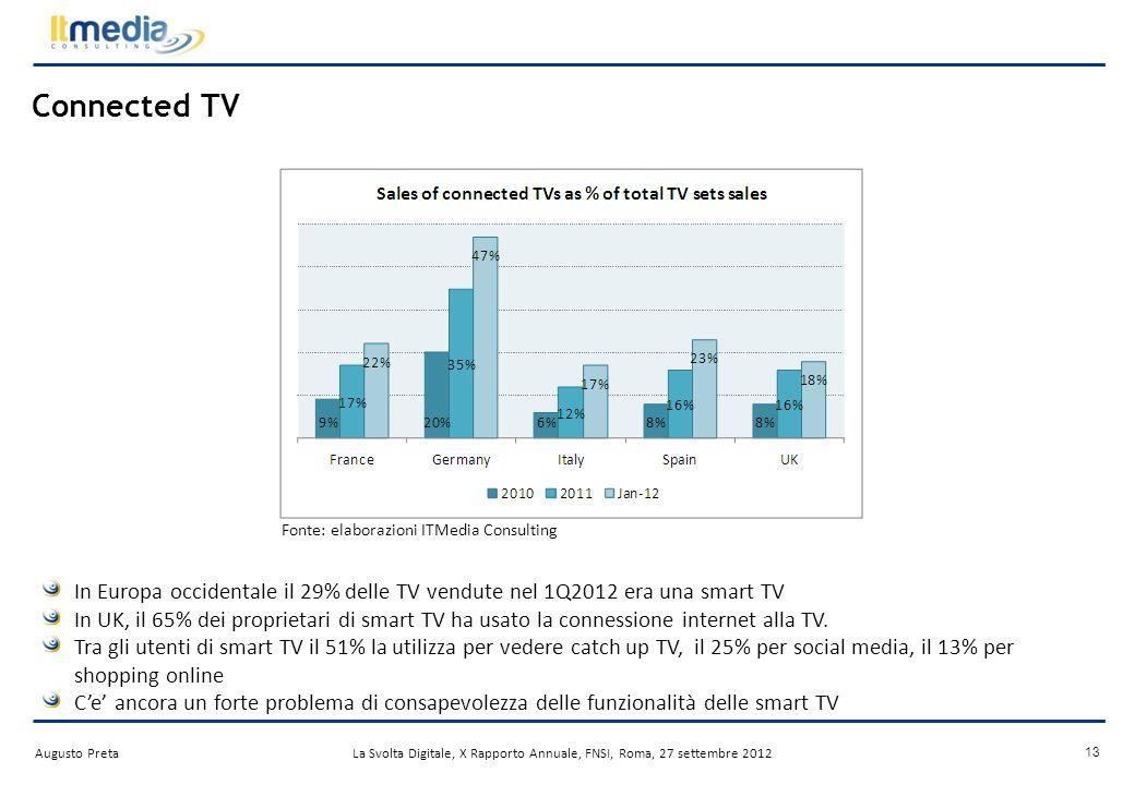 Augusto PretaLa Svolta Digitale, X Rapporto Annuale, FNSI, Roma, 27 settembre 2012 LOver the Top TV avanza I servizi OTT web-native si espandono verso nuovi mercati per aumentare base abbonati e ricavi, es.