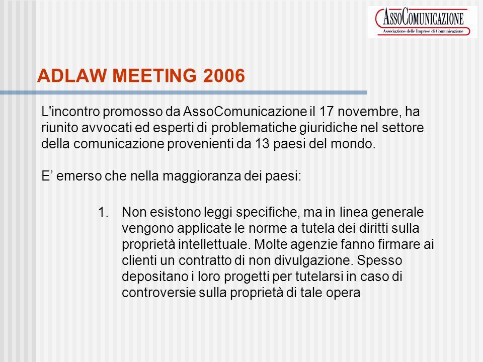 ADLAW MEETING 2006 L incontro promosso da AssoComunicazione il 17 novembre, ha riunito avvocati ed esperti di problematiche giuridiche nel settore della comunicazione provenienti da 13 paesi del mondo.