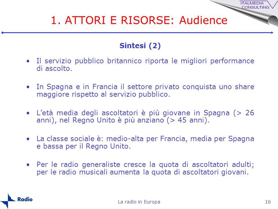 La radio in Europa16 1. ATTORI E RISORSE: Audience Il servizio pubblico britannico riporta le migliori performance di ascolto. In Spagna e in Francia