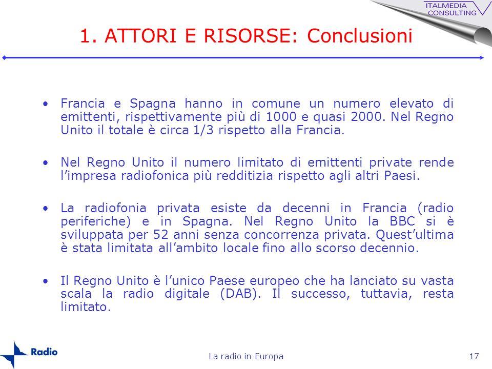 La radio in Europa17 1. ATTORI E RISORSE: Conclusioni Francia e Spagna hanno in comune un numero elevato di emittenti, rispettivamente più di 1000 e q