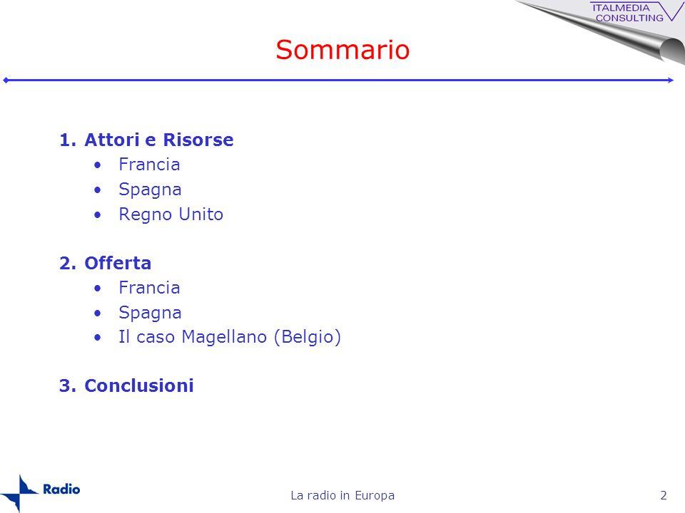La radio in Europa2 Sommario 1.Attori e Risorse Francia Spagna Regno Unito 2.Offerta Francia Spagna Il caso Magellano (Belgio) 3.Conclusioni