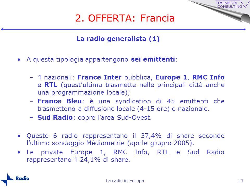 La radio in Europa21 2. OFFERTA: Francia A questa tipologia appartengono sei emittenti: –4 nazionali: France Inter pubblica, Europe 1, RMC Info e RTL
