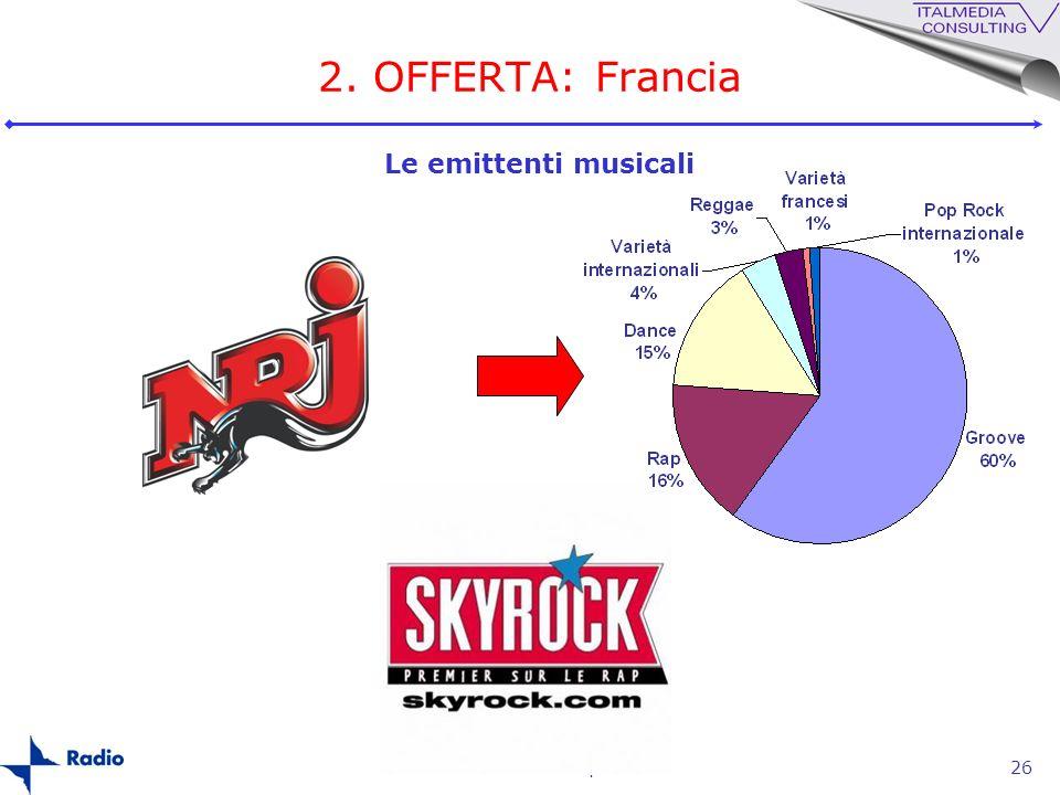 La radio in Europa26 2. OFFERTA: Francia Le emittenti musicali