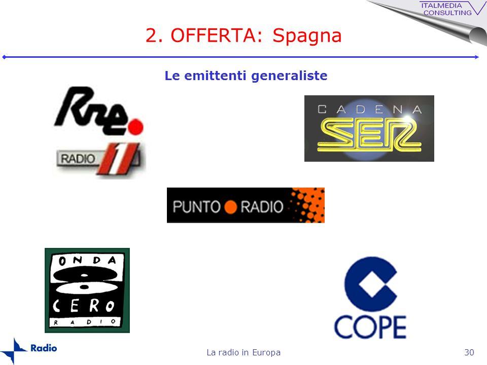 La radio in Europa30 2. OFFERTA: Spagna Le emittenti generaliste