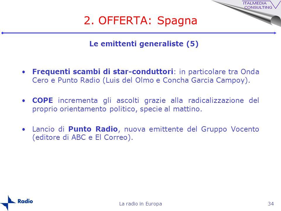 La radio in Europa34 2. OFFERTA: Spagna Frequenti scambi di star-conduttori: in particolare tra Onda Cero e Punto Radio (Luis del Olmo e Concha Garcia