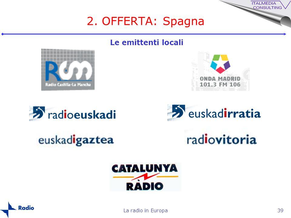 La radio in Europa39 2. OFFERTA: Spagna Le emittenti locali