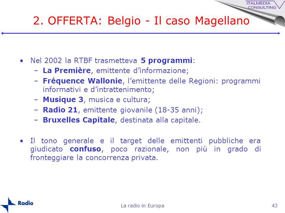 La radio in Europa43 2. OFFERTA: Belgio - Il caso Magellano Nel 2002 la RTBF trasmetteva 5 programmi: –La Première, emittente dinformazione; –Fréquenc