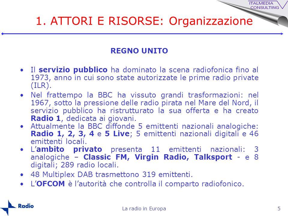 La radio in Europa5 REGNO UNITO Il servizio pubblico ha dominato la scena radiofonica fino al 1973, anno in cui sono state autorizzate le prime radio