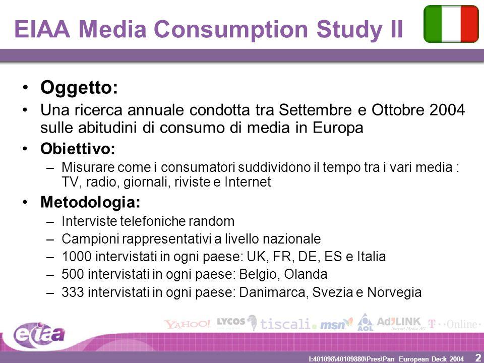 2 2 I:401098\40109880\Pres\Pan European Deck 2004 EIAA Media Consumption Study II Oggetto: Una ricerca annuale condotta tra Settembre e Ottobre 2004 s