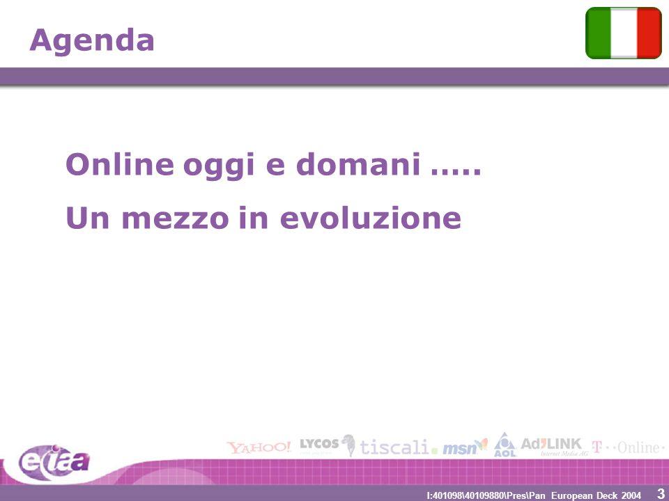 3 3 I:401098\40109880\Pres\Pan European Deck 2004 Agenda Online oggi e domani ….. Un mezzo in evoluzione