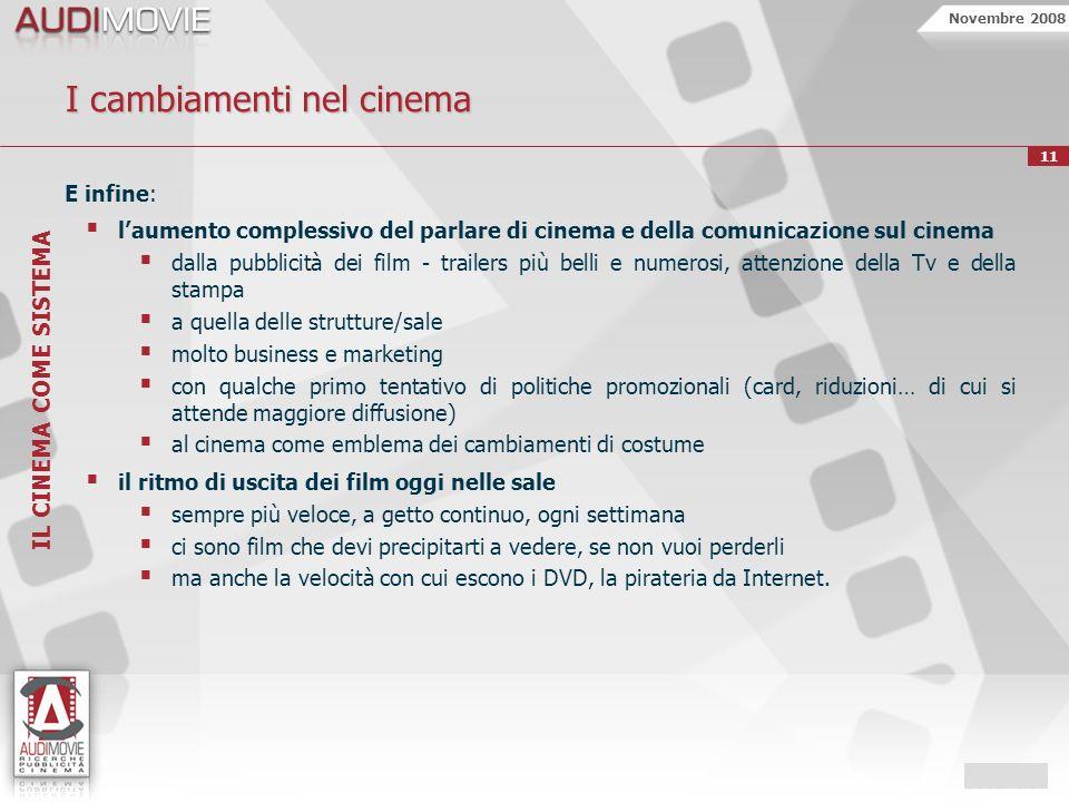 Novembre 2008 11 I cambiamenti nel cinema E infine: laumento complessivo del parlare di cinema e della comunicazione sul cinema dalla pubblicità dei f