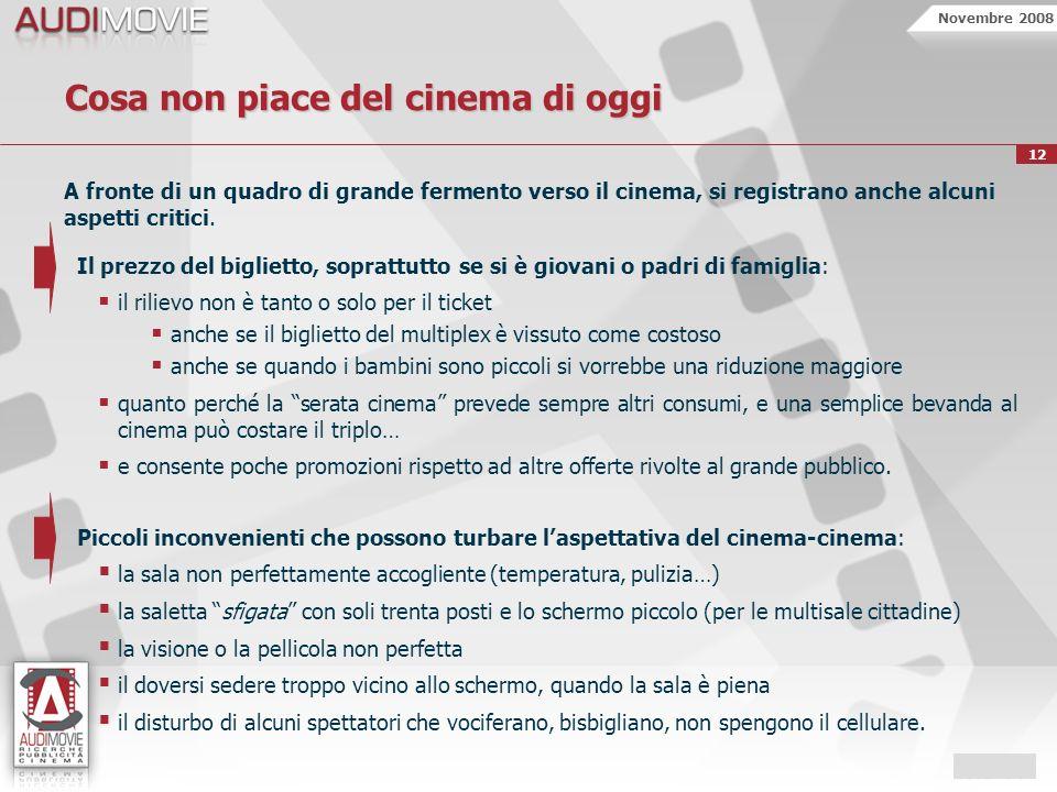 Novembre 2008 12 Cosa non piace del cinema di oggi A fronte di un quadro di grande fermento verso il cinema, si registrano anche alcuni aspetti critici.