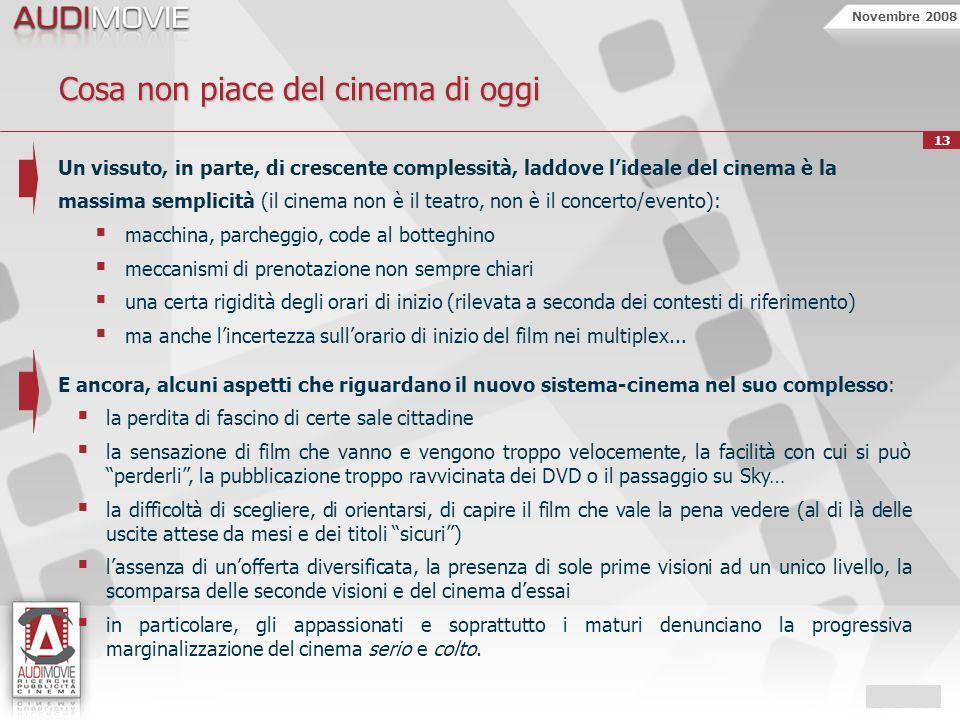 Novembre 2008 13 Cosa non piace del cinema di oggi Un vissuto, in parte, di crescente complessità, laddove lideale del cinema è la massima semplicità