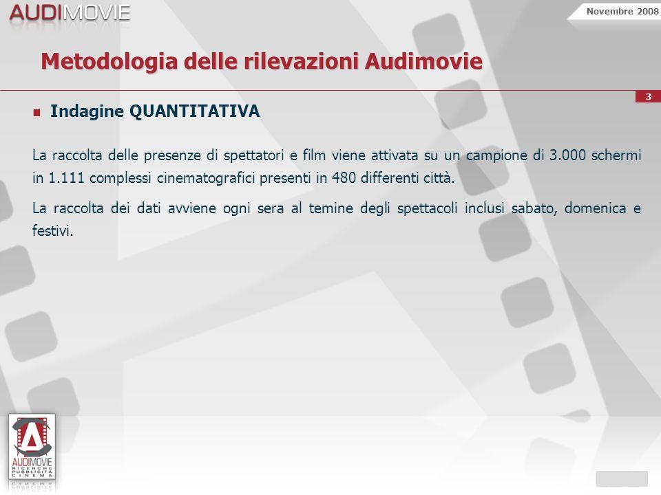 Novembre 2008 3 Metodologia delle rilevazioni Audimovie Indagine QUANTITATIVA La raccolta delle presenze di spettatori e film viene attivata su un campione di 3.000 schermi in 1.111 complessi cinematografici presenti in 480 differenti città.