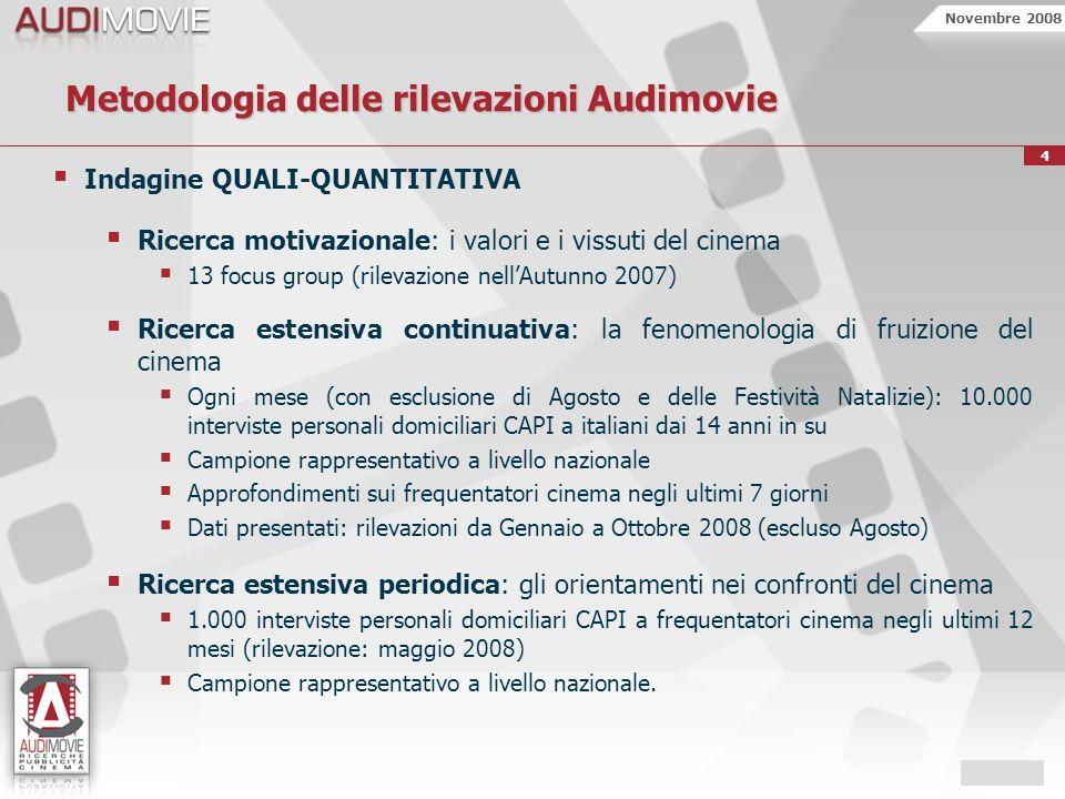 Novembre 2008 4 Metodologia delle rilevazioni Audimovie Indagine QUALI-QUANTITATIVA Ricerca motivazionale: i valori e i vissuti del cinema 13 focus gr